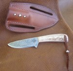 Pine Ridge Ridgeline Hunter Left Hand Knife, Plain Leather Case