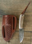 Pine Ridge Ridgeline Hunter Left Hand Knife, Tooled Leather Case