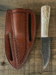 Pine Ridge Timberline Left  Hand Knife, Tooled Leather Case