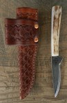 Pine Ridge Shark Tooth Left  Hand Knife, Tooled Leather Case