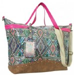 Arianna Large Overnight Multicolored Aztec Print Canvas Tote
