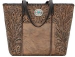 Santa Barbara Large Distressed Charcoal Brown Shopper Tote