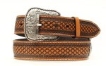 Ariat Mens Natural Basketweave and Beaded Inlay Belt