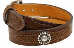 Ariat Mens Floral Embossed Overlay Belt