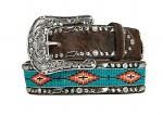 Ladies Brown Cowhide Turquoise Aztec Beaded Center Belt
