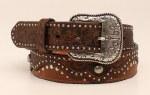 Ladies Brown Embossed Studded Belt