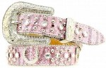 Girls Pink Rhinestone Horseshoe Belt