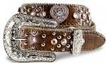 Girls Brown Belt with Pink Heart Rhinestone Conchos