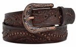 Ladies Distressed Feather Embossed Belt