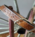"Mens 1-1/2"" Tan Wild Rose Belt"