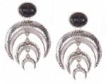 Ethnic Embossed Metal Double Horn Dangle Earrings