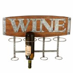 "Wood Four Bottle ""Wine"" Rack"