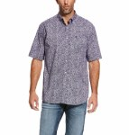 Mens Lavender Print SS Button Shirt