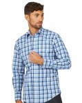 Mens Blue Plaid Snap Shirt