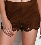 Ladies Brown Faux Suede Shorts