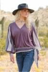 Ladies Purple Surplice Top