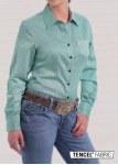 Ladies Green Print Button Shirt