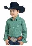 Boys Green Pinedale Vintage Print Shirt
