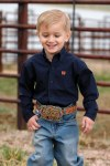 Toddler Boys Navy Printed Button Shirt