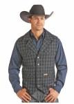 Mens Indigo Checked Wool Vest