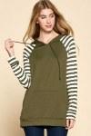 Ladies Olive Stripe Hoodie