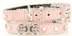 "Blazin Roxx  3/4"" Pink Croc Print and Rhinestone Dog Collar"