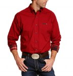 Mens Red Power Print Button Shirt