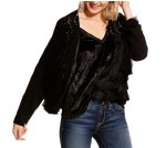 Ladies Black Fauz Suede Fringe Jacket