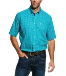 Mens Wrinkle Free Viridian Green Shirt