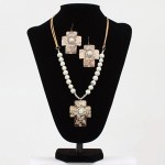 White Etched Chocolate Cross Jewellery Set