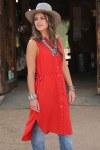Ladies Red Georgette Western Duster