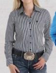Ladies Stripe Print Button Shirt