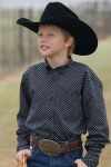 Boys Black Print Button Shirt