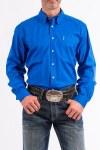 Mens Solid Blue Modern Fit Shirt