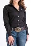 Ladies Solid Black Performance Shirt