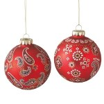 Assorted Bandana Print Glass Ball Ornament