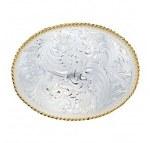 Large Silver Engraved Western Belt Buckle