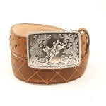 Boys Tan X Stitch Belt