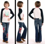 Girls Dark Wash Rose Patch Flare Jean