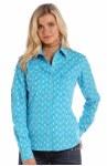 Ladies Turq Feather Print Snap Shirt