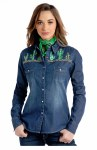 Ladies Cactus Embroidery Snap Shirt