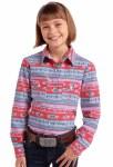 Girls Aztec Print Snap Shirt