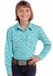 Girls Turq Print Snap Shirt