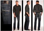 Mens Double Barrel Straight Leg Dark Wash Jean