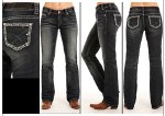 Junior Ladies Rhinestone Boot Cut Jeans