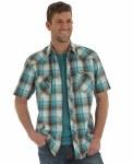 Mens Retro Plaid Short Sleeve Snap Shirt