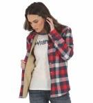 Ladies Plaid Sherpa Lined Flannel Shirt