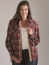 Ladies Lined Plaid Flannel Shirt