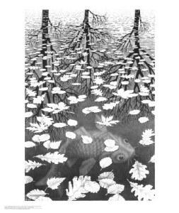 Three Worlds Escher Poster