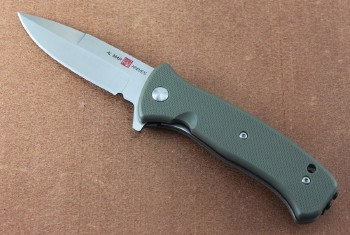 AMK2208 Mini SERE 2020 - Assisted Opening - Flipper - Satin 8CR13MoV Stainless - OD Green FRN Handles